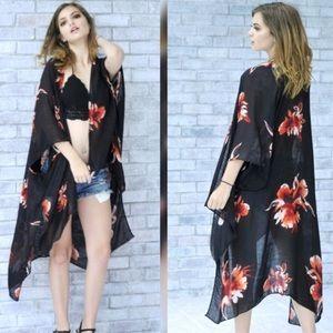 Accessories - Black Floral Kimono